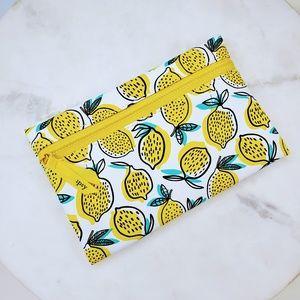Handbags - 5 for $25 Lemon Print Graphic Zipper Cosmetic Bag